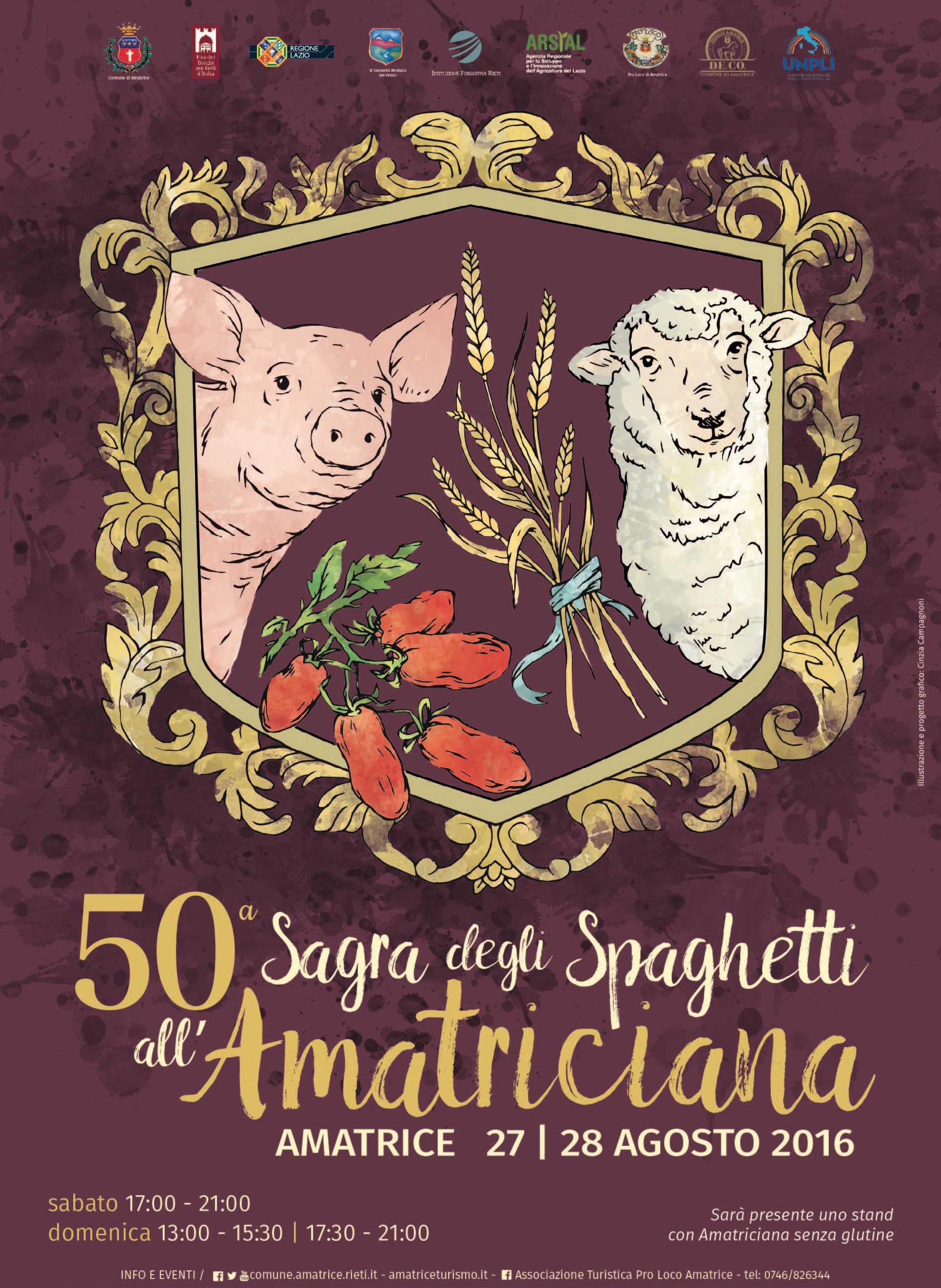 η αφίσα για την γιορτή των σπαγκέτι αλ αματριτσιάνα στο Αμάτριτσε